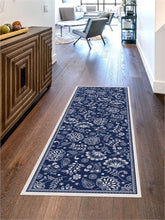 Load image into Gallery viewer, embroidered floral blue floor flair