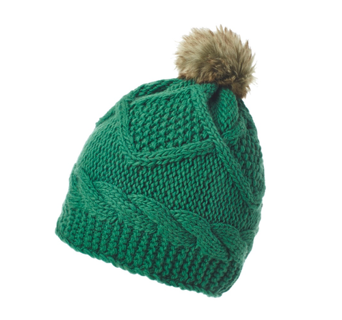 Emerald | Diamond Couture Merino Beanie with Fur Pom