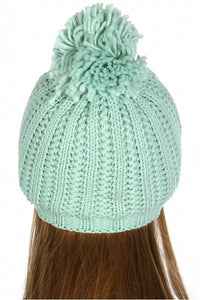 fluffy pom pom knit beanie mint