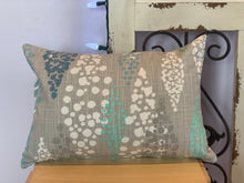 "Load image into Gallery viewer, Lumbar (12"" x 16"") Gray, Teal, White, & Indigo Modern Multi-size Polka Dot Pillow Cover"