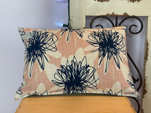 "Lumbar (12"" x 16"") Scribble Flower Pink & Navy Pillow Cover - InRugCo Studio & Gift Shop"