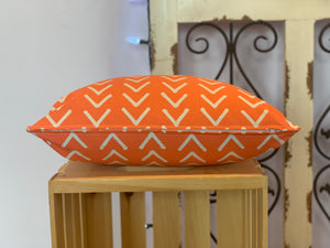 "Lumbar (12"" x 16"") Orange and White Pillow Covers - InRugCo Studio & Gift Shop"