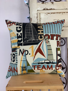 "18"" Nautical Sailboat Pillow Covers - InRugCo Studio & Gift Shop"