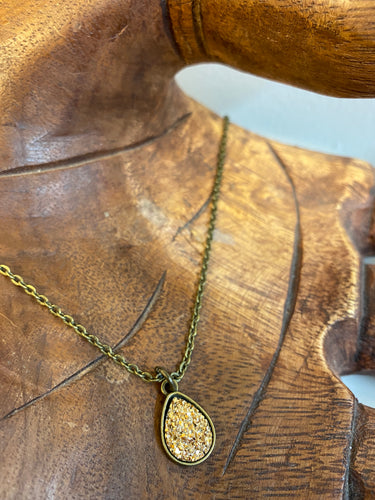 Gold Dainty Teardrop Druzy Necklace - Antique Brass | Spiffy & Splendid - InRugCo Studio & Gift Shop