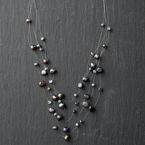 Graphite Pearl Illusion Necklace | Tickled Pink - InRugCo Studio & Gift Shop
