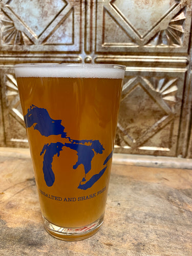 Great Lakes Unsalted and Shark Free Pint Glass 16 oz.