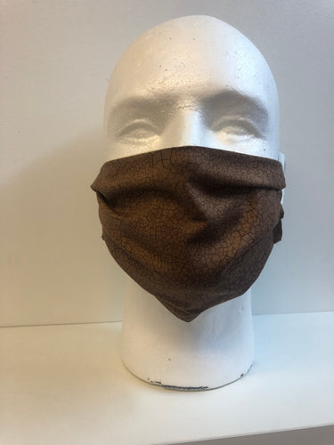 Brown Crackle Fabric Face Mask | InRugCo Studio & Gift Shop - InRugCo Studio & Gift Shop