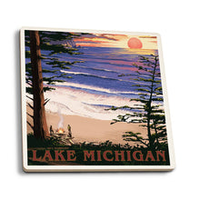 Load image into Gallery viewer, Lake Michigan sunset on beach coaster
