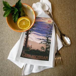Lake Michigan sunset tea towel
