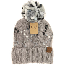 Load image into Gallery viewer, light grey chunky knit yarn pom beanie cc