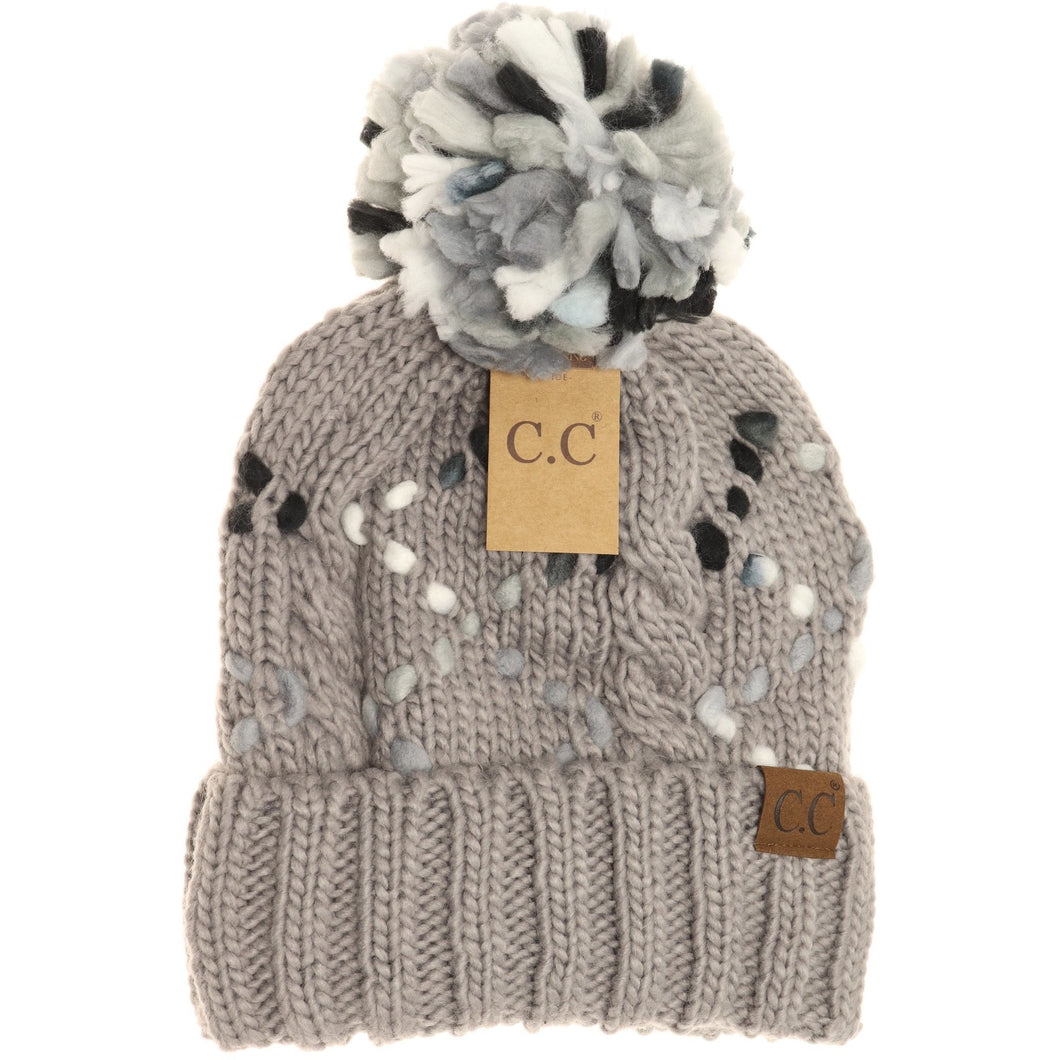 light grey chunky knit yarn pom beanie cc