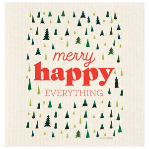 merry happy everything trees swedish dishcloth potluck press