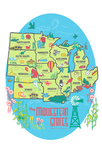 Midwest States Tea Towel | Vestiges