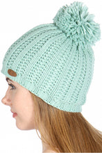 Load image into Gallery viewer, mint fluffy pom pom beanie cc