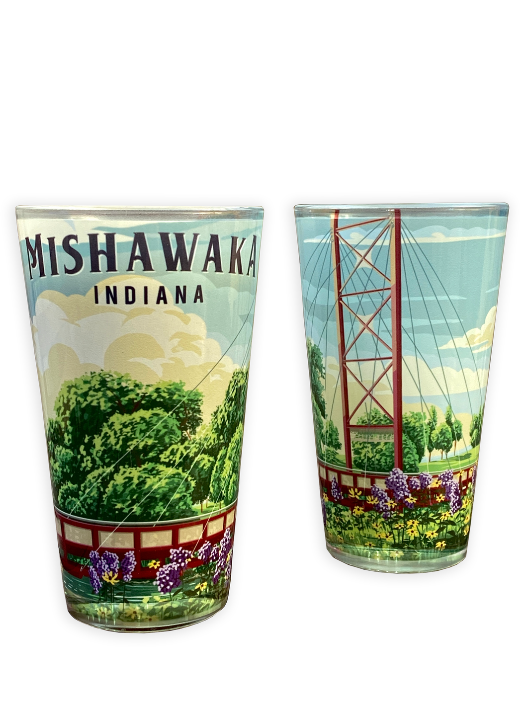 Mishawaka Indiana riverwalk pint glass