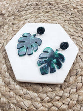 Load image into Gallery viewer, Palm Leaf Dangle Earrings- Acrylic + Green Druzy | Spiffy & Splendid - InRugCo Studio & Gift Shop