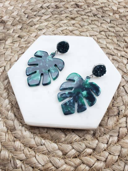 Palm Leaf Dangle Earrings- Acrylic + Green Druzy | Spiffy & Splendid - InRugCo Studio & Gift Shop