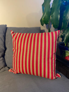 red & green strip christmas pillow 18x18