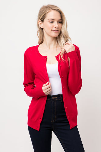 red Cielo round neck shank button down cardigan sw650