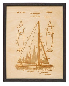 Patent Art - Sailboat | Wood Chart - InRugCo Studio & Gift Shop
