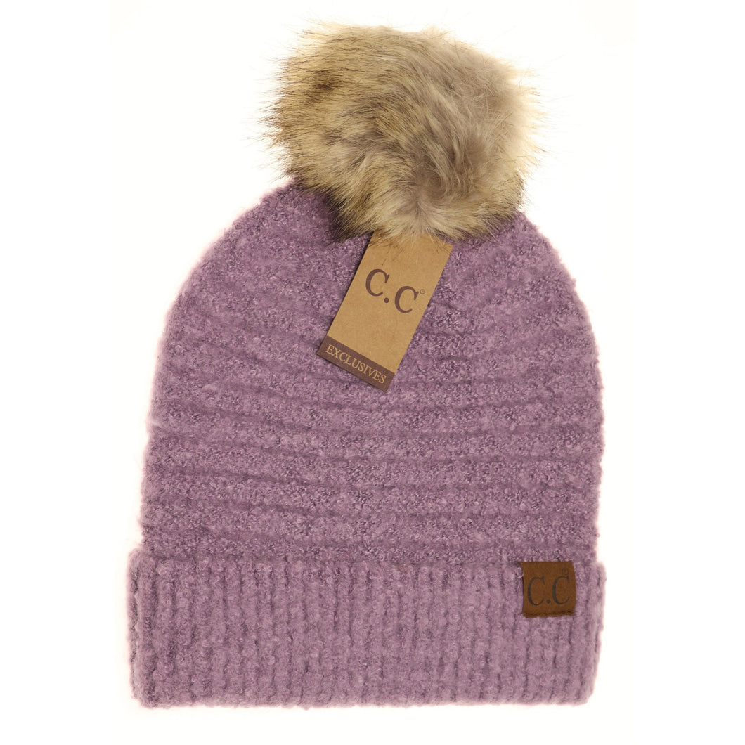 solid Boucle knit pom beanie grapeade cc