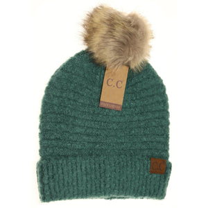 solid boucle knit pom forest green cc beanie