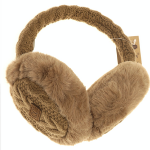 Cable Knit Faux Fur Earmuff EM3661 - Various Colors | CC Beanie
