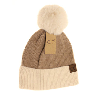 taupe color block solid faux fur pom beanie cc