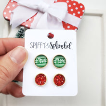 Load image into Gallery viewer, ugly christmas sweater earrings spiffy splendid
