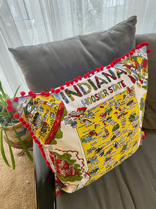 vintage indiana pillow with map