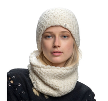 Load image into Gallery viewer, white merino beanie nirvana designs model