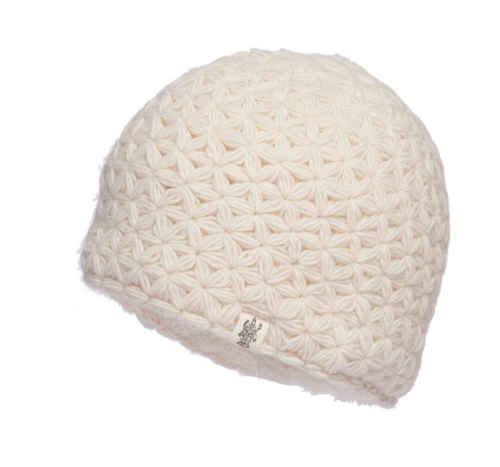 white merino wool beanie nirvana designs
