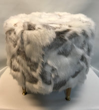 Load image into Gallery viewer, White Faux Fur Ottoman - InRugCo Studio & Gift Shop