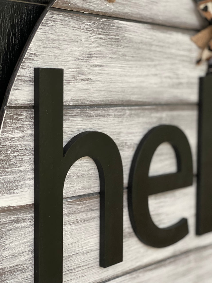 This image sows a close up of the wood cutout lettering.