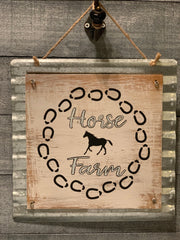 Horse Farm galvanized metal & wood sign alternate view