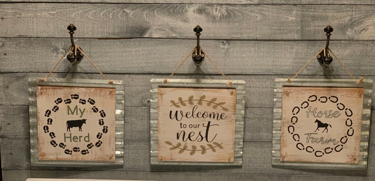 Horse Farm galvanized metal & wood sign with 3 sign collection view