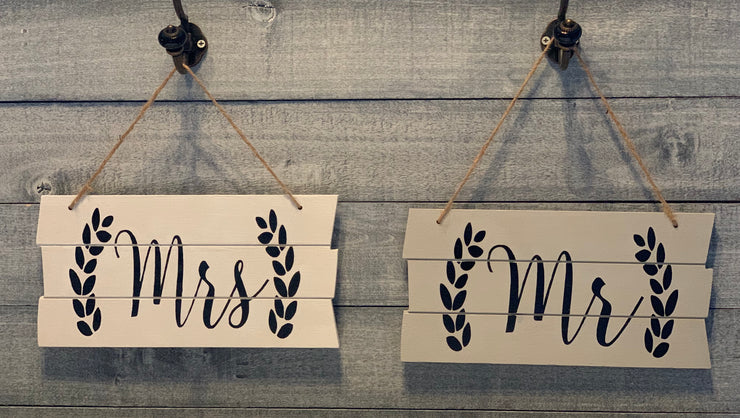 Shiplap style wood Mrs sign with Mr sign-sold separately