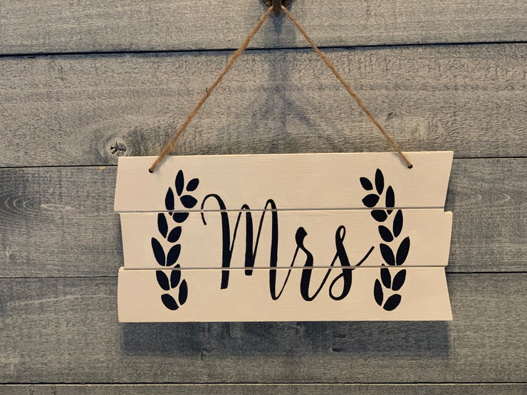 Shiplap style wood Mrs. sign