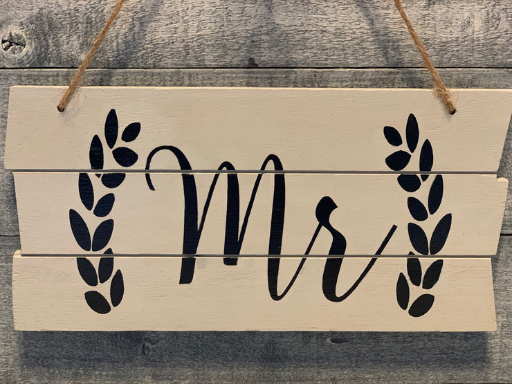 Shiplap style wood Mr sign