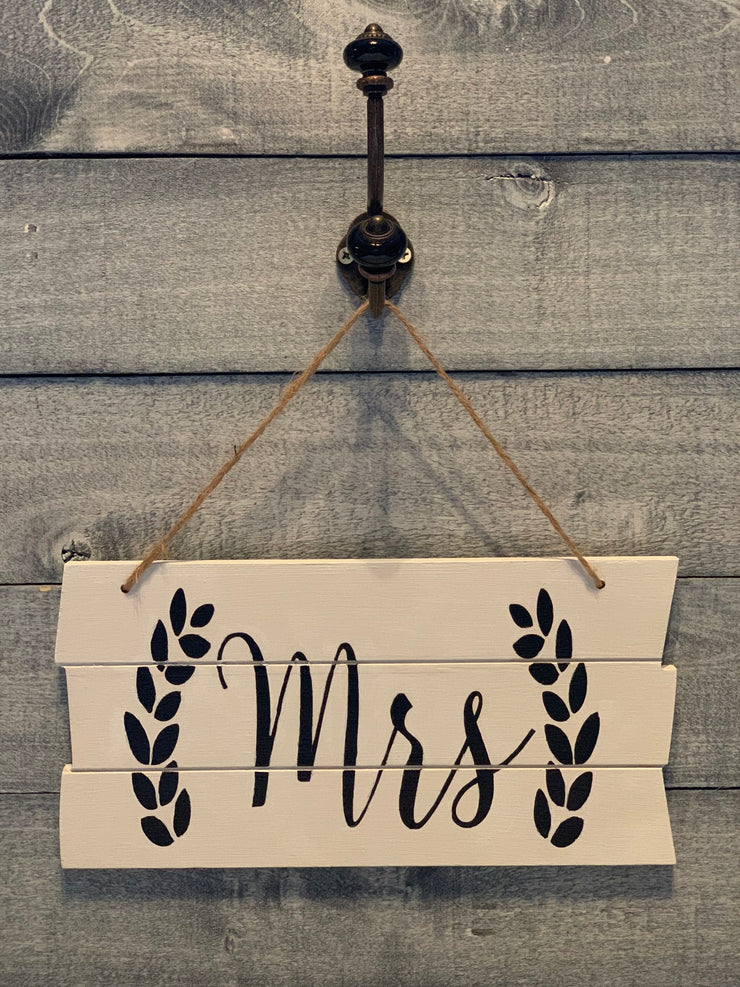 Shiplap style wood Mrs sign alternate view 1