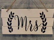 Shiplap style wood Mrs sign alternate view 2