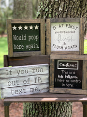 This image shows a variety of our bathroom signs grouped together.  Each sign is sold separately.
