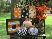 This image shows the artificial bittersweet floral glass vase with our wood pumpkins and cloth pumpkins and a small hand painted sign.  Each item sold separately.