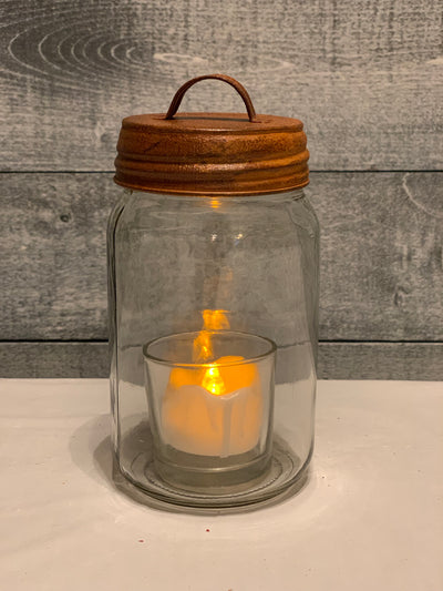 Rustic Brown Tin Metal Lid.  Mason Jar and tea light candle not included.