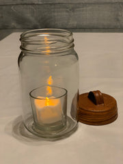 Alternate picture of Rustic Brown Tin Metal Lid.  Mason Jar and tea light candle not included.