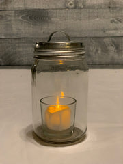 Silver Tin Metal Lid.  Mason Jar and tea light candle not included.