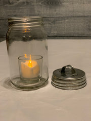 Alternate picture showing Silver Tin Metal Lid.  Mason Jar and tea light candle not included.