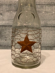 Glass Decanter With Rustic Star Chicken Wire & Jute Twine at Top - zoomed in view