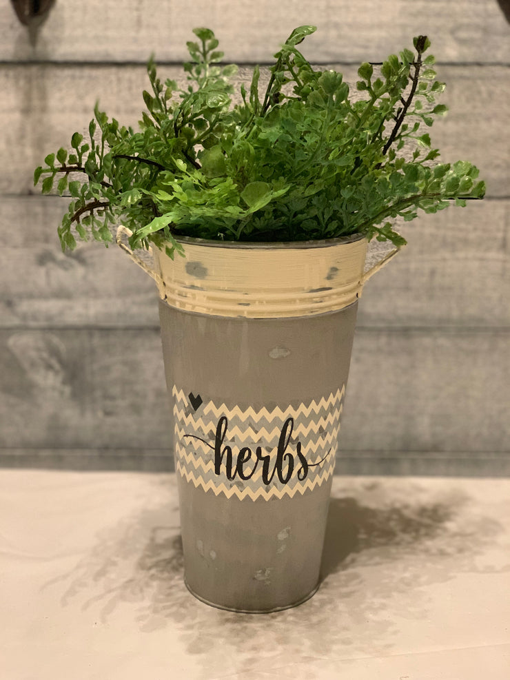 Herbs - Hand Painted Vintage Artisan Planter - galvanized metal