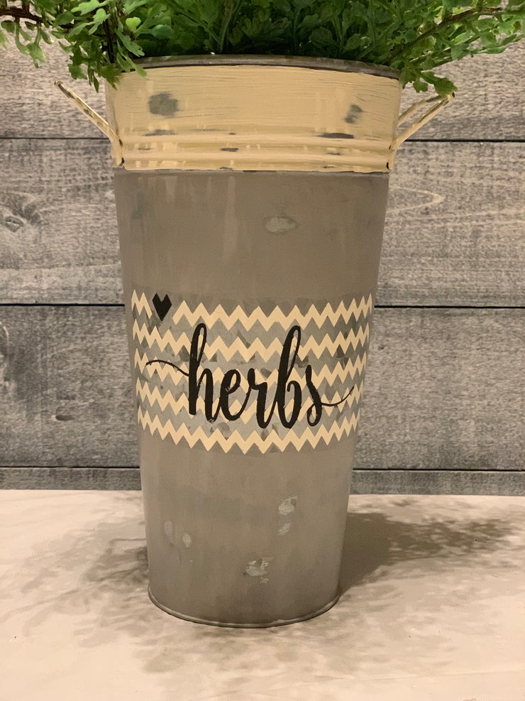 Herbs - Hand Painted Vintage Artisan Planter - galvanized metal - close up front